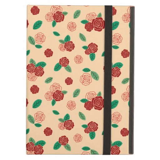 Red rose flower & green leaf pattern case for iPad air