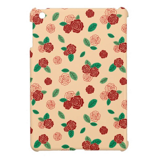Red rose flower & green leaf pattern case for the iPad mini
