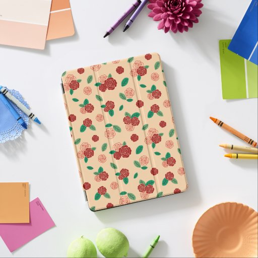 Red rose flower & green leaf pattern iPad air cover