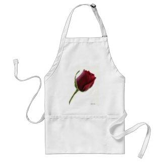Red Rose Flower on White apron