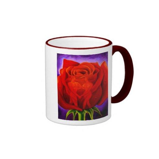 Red Rose Flower Painting Art - Multi Ringer Coffee Mug