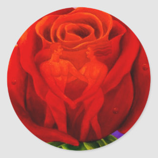 Red Rose Flower Painting Art - Multi Classic Round Sticker