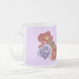 red rose flower painting best mum slogan frosted glass coffee mug