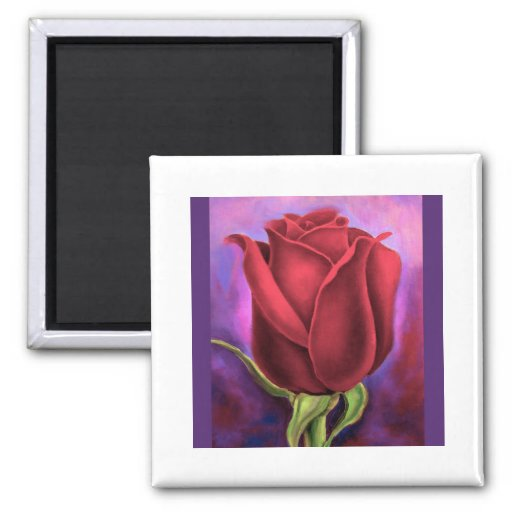 Red Rose Flower Painting - Multi 2 Inch Square Magnet