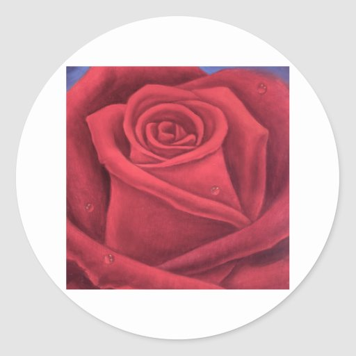Red Rose Flower Painting - Multi Classic Round Sticker