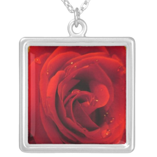 red rose flower silver plated necklace