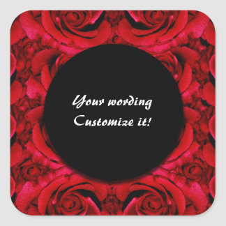 Red rose flower square sticker