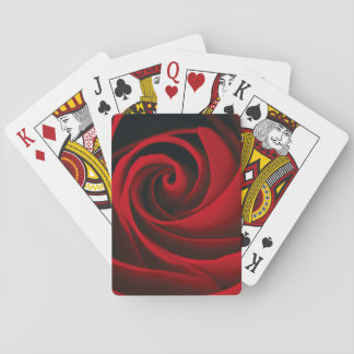 Red Rose Flower Swirl Classy Design Playing Cards