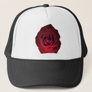 RED ROSE FLOWER TRUCKER HAT