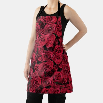 Red Rose Flowers Floral Apron