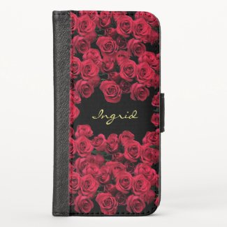 Red Rose Flowers Floral  iPhone X Wallet Case