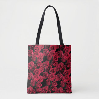 Red Rose Flowers Garden Floral Tote Bag