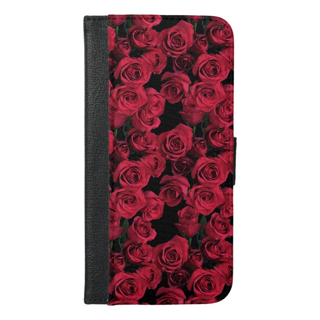 Red Rose Flowers iPhone 6 Plus Wallet Case