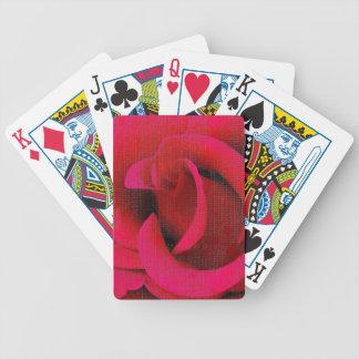 Red rose flowers poker deck
