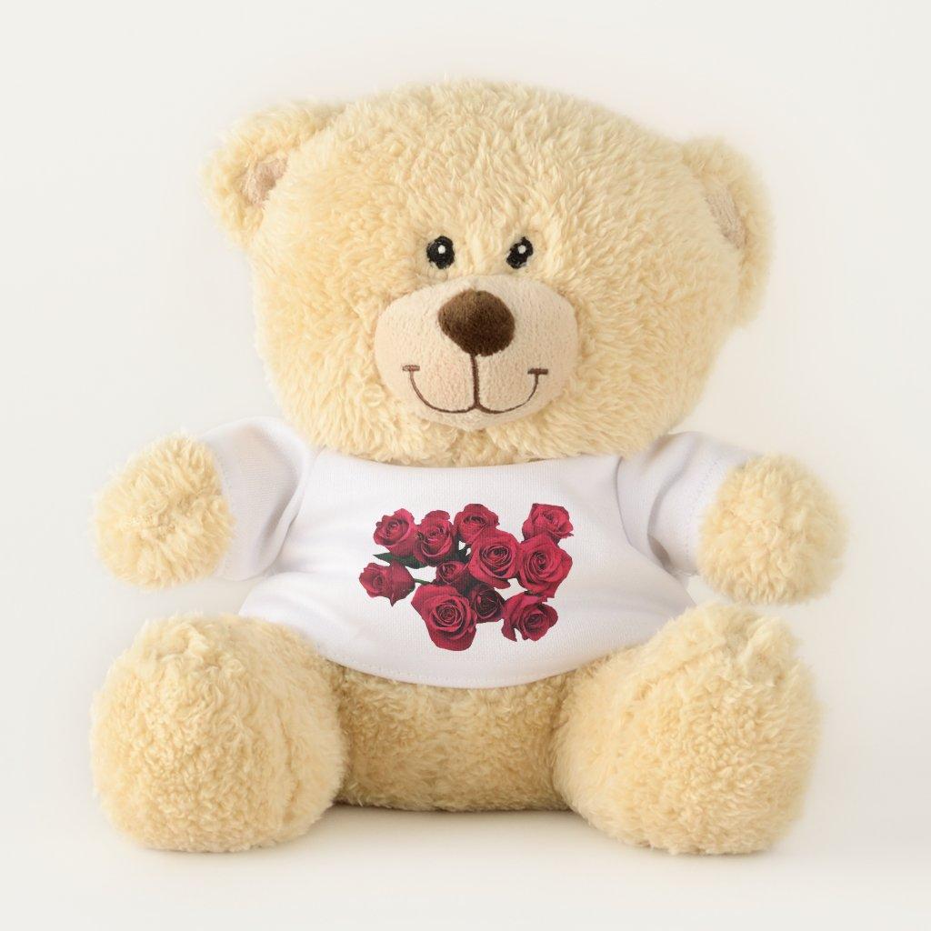 Red Rose Flowers Teddy Bear