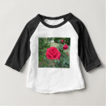 Red rose flowers with water droplets in spring baby T-Shirt