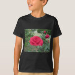 Red rose flowers with water droplets in spring T-Shirt