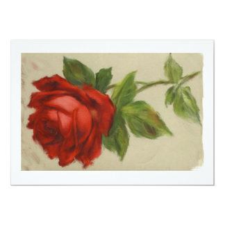 Red Rose for a Blue Lady 5x7 Paper Invitation Card