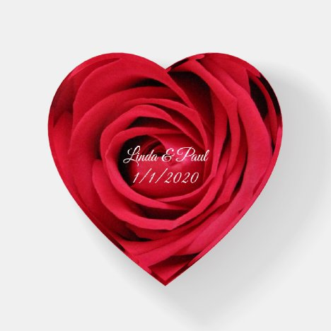 Red Rose for Lovers Glass Heart Paperweight