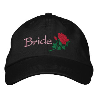 Red Rose for the Bride Embroidered Wedding Cap