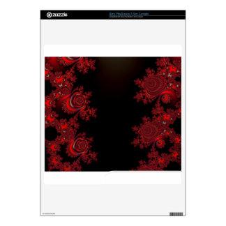 Red Rose Fractal Skins Decal For PS3 Slim