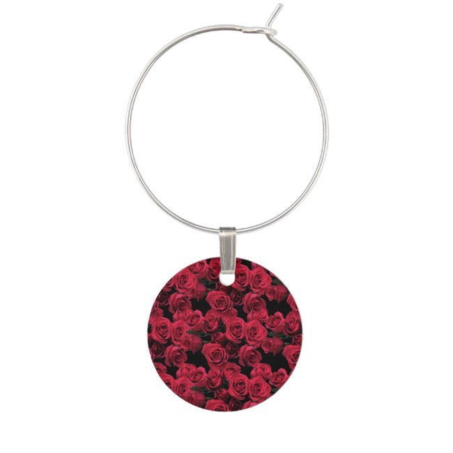 Red Rose Garden Flower Floral Wine Charm