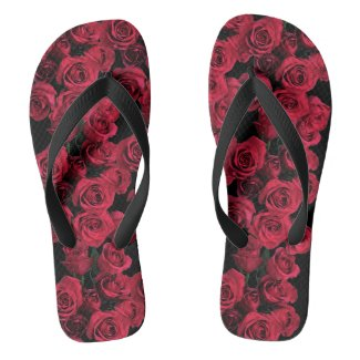 Red Rose Garden Flowers Flip Flops