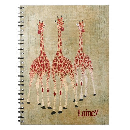 Red Rose Giraffes Personalized Notebook