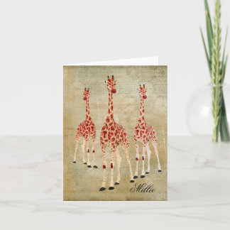Red Rose Giraffes Personalized Notecard