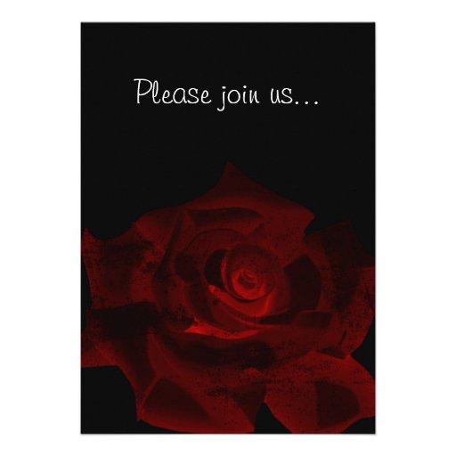 Red Rose Glow Gothic Bridal Shower Invitation