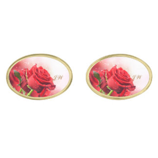 Red Rose Gold Cuff Links-w/Monogram Gold Cufflinks