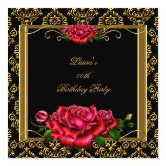 Red Rose Gold Damask Woman's Birthday Party Card