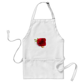 Red Rose & Gold Diamond Ring Adult Apron
