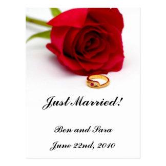 Red Rose & Gold Diamond Ring Postcard