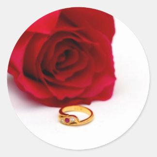 Red Rose Gold Diamond Ring Sticker