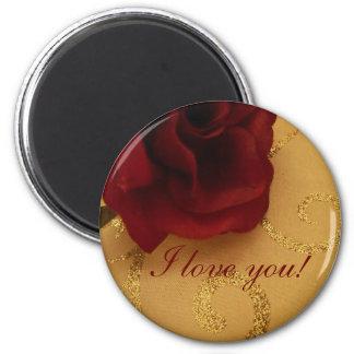 Red Rose Gold Swirls Magnet