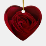Red Rose Gorgeous Double-Sided Heart Ceramic Christmas Ornament