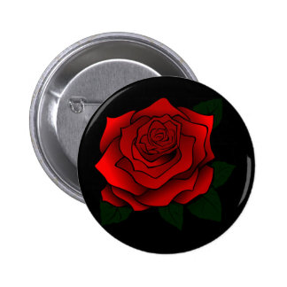 Red Rose Goth Art Button