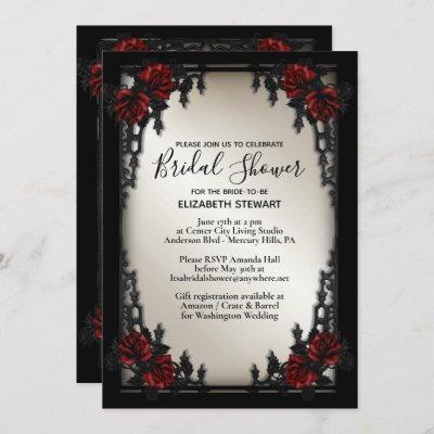Red Rose Gothic Wedding Bridal Shower Antique Gold Invitation