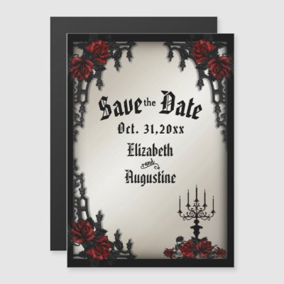 Red Rose Gothic Wedding Iron Gate Antique Gold Magnetic Invitation