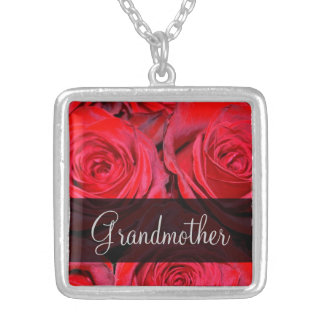 Red Rose Grandmother Silver Plated Necklace