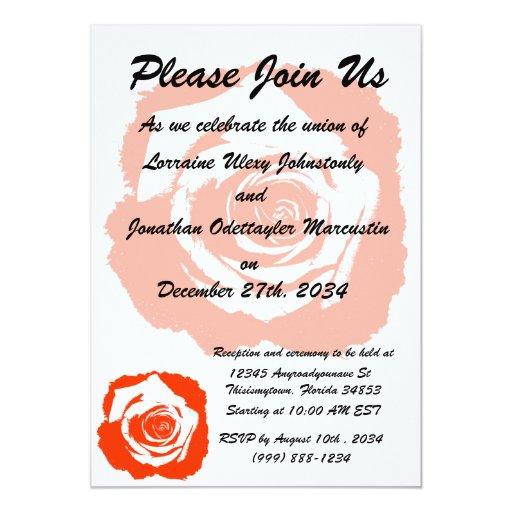 Red Rose graphic 5x7 Paper Invitation Card