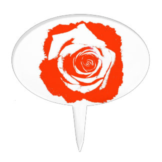 Red Rose graphic Cake Topper