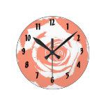 Red Rose graphic Round Clocks