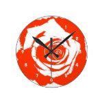 Red Rose graphic Wallclocks