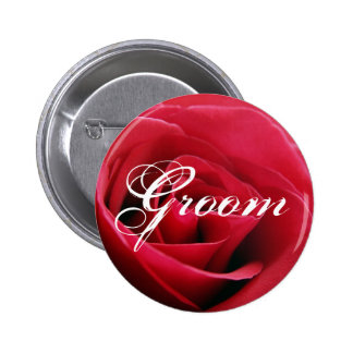 red rose, Groom Pinback Button