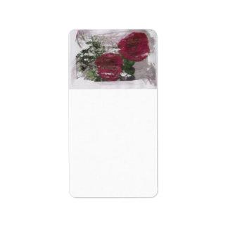 Red rose grunged original design address label