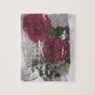 Red rose grunged original design jigsaw puzzle