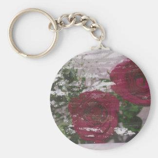 Red rose grunged original design keychain