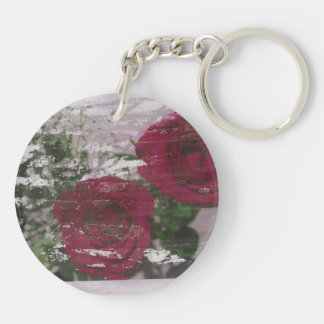 Red rose grunged original design Double-Sided round acrylic keychain
